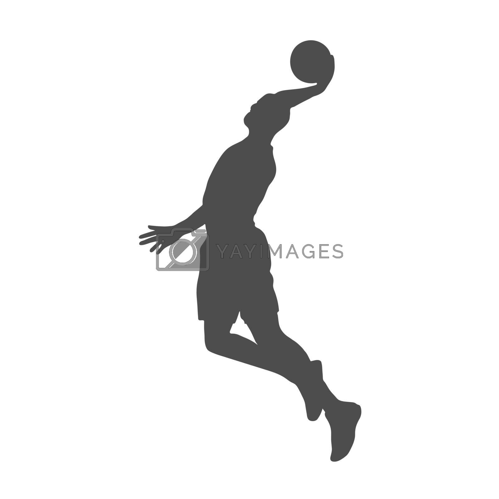 Basketball. Filled silhouette of a basketball player with a ball. Flat Style