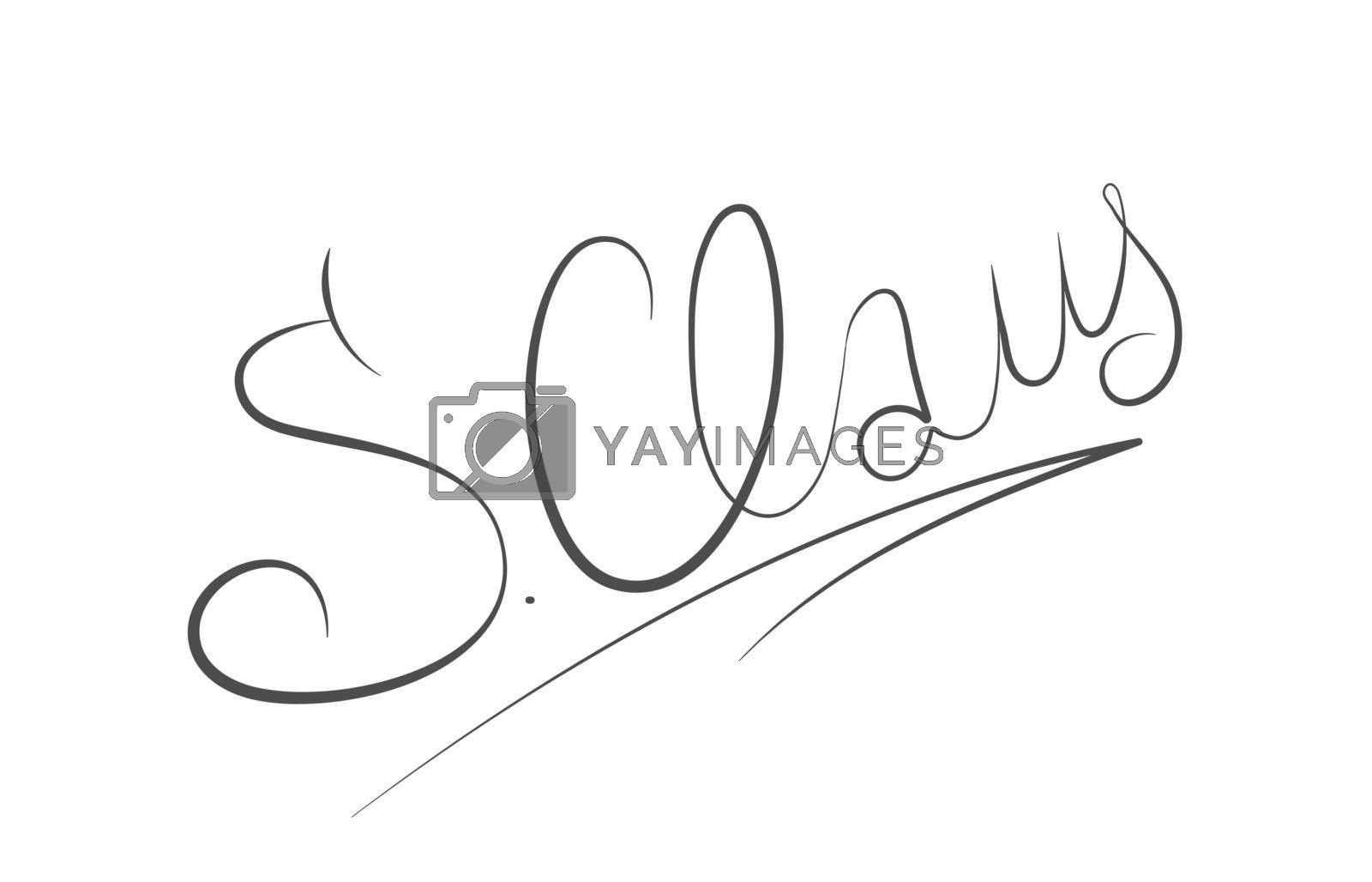 calligraphic Christmas signature of Santa Claus. Isolated vector illustration for greeting cards, banners, prints, posters, scrapbooking. Simple Style