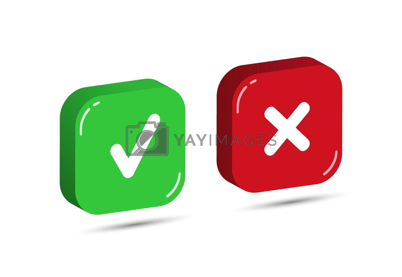 Red and green three-dimensional square buttons with a check mark and a cross. Simple design.