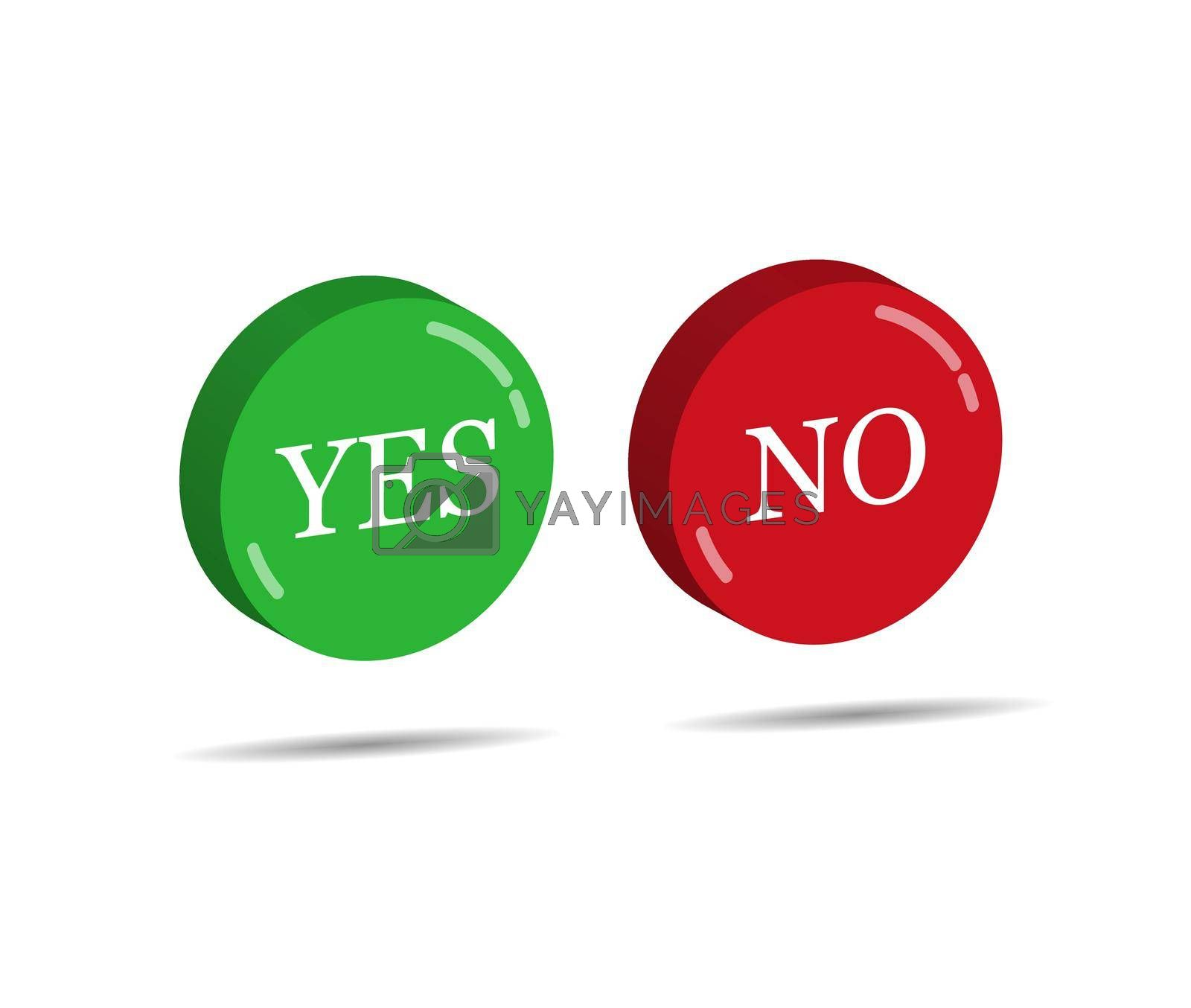 Royalty free image of Red and green three-dimensional buttons with the words YES and NO by Grommik