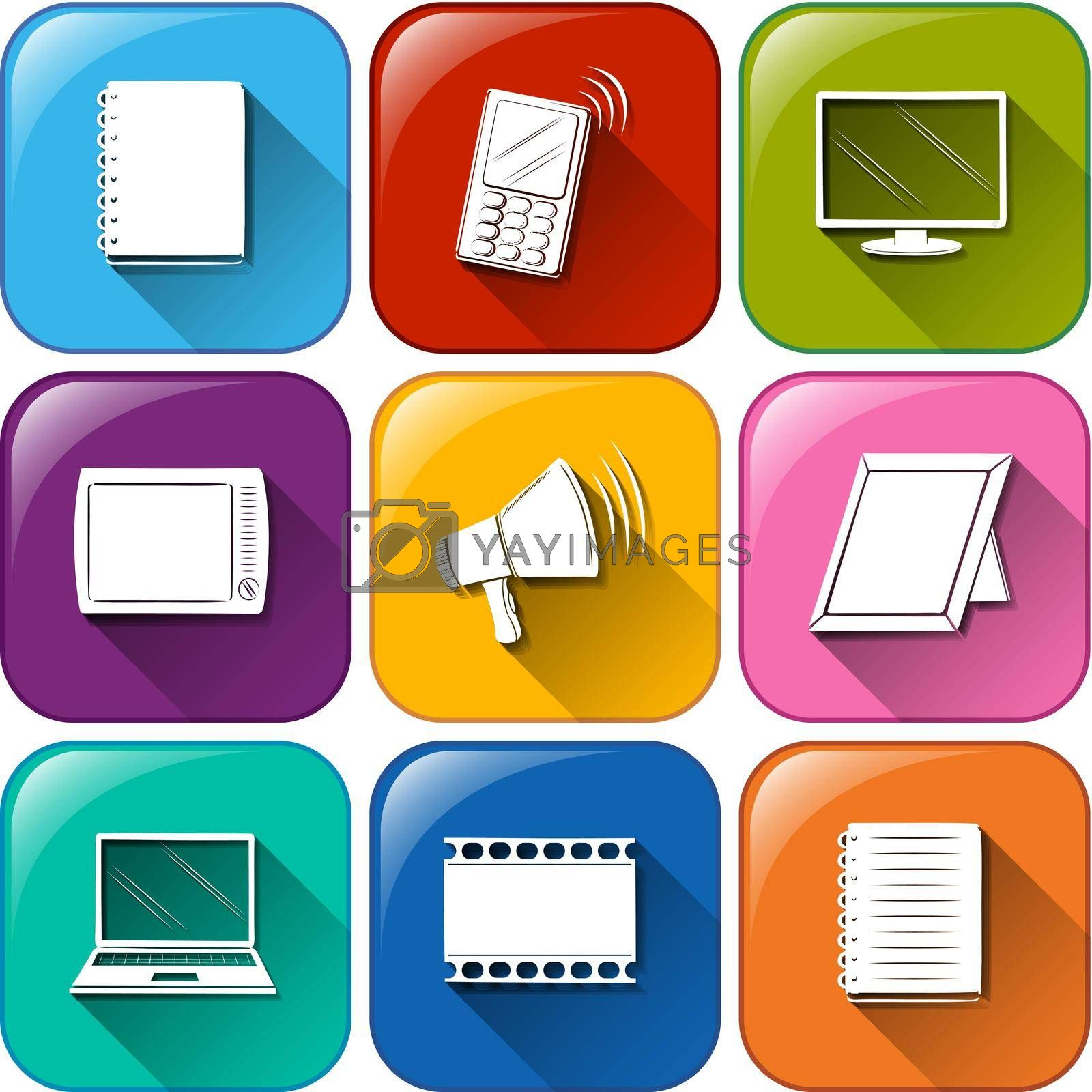 Illustration of the buttons with the different communication tools on a white background