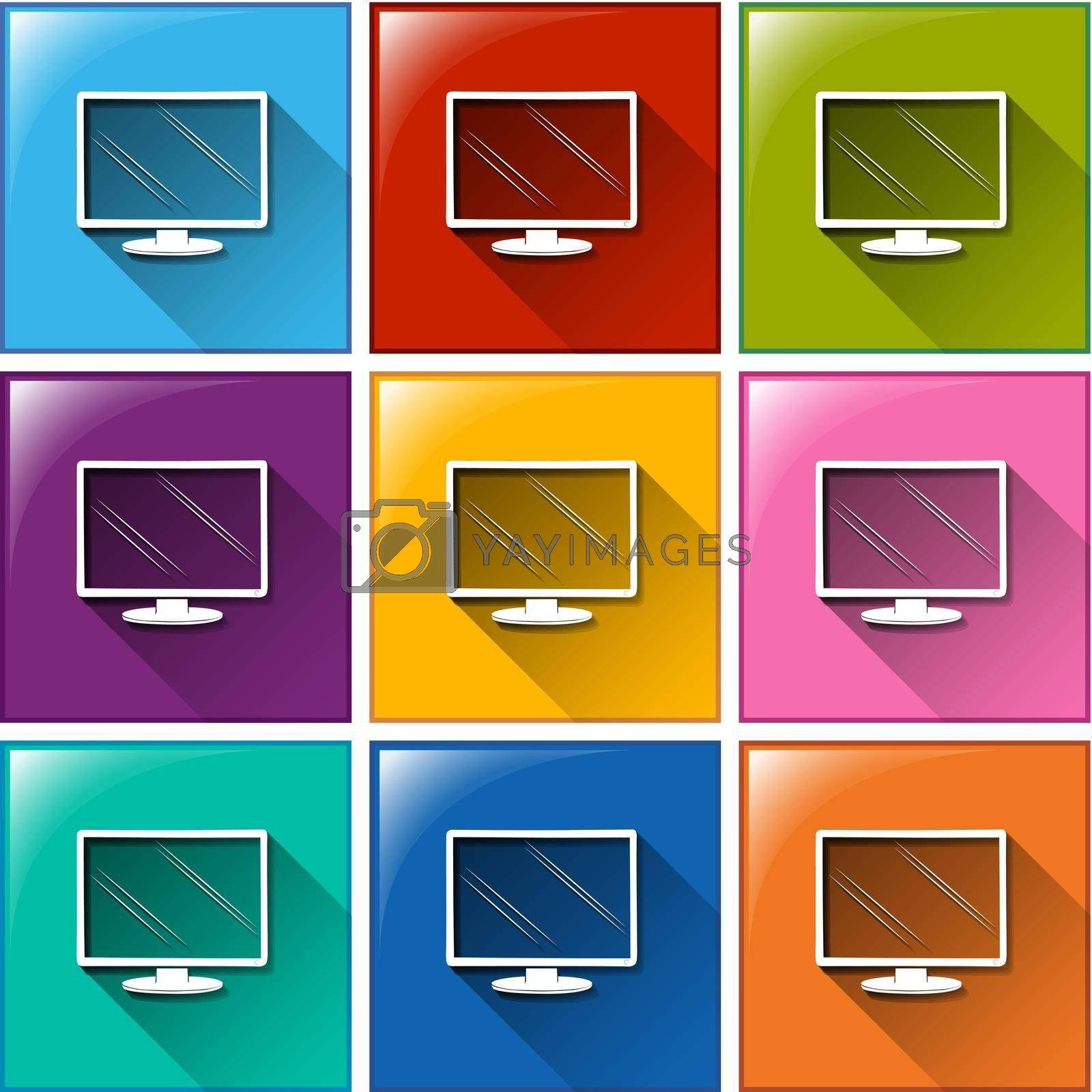 Illustration of different color of computer icons