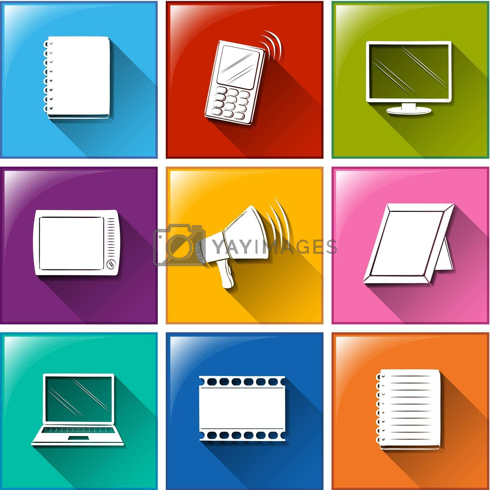 Illustration of different color of communication icons
