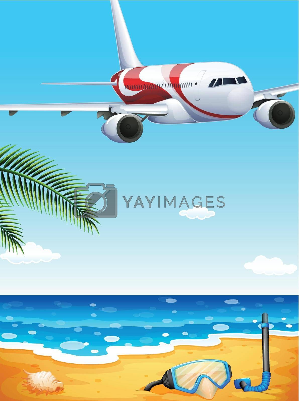 Royalty free image of A beach with an airplane uphigh by iimages