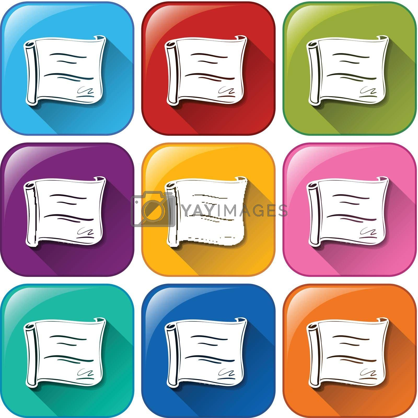 Royalty free image of Rounded buttons with certificates by iimages