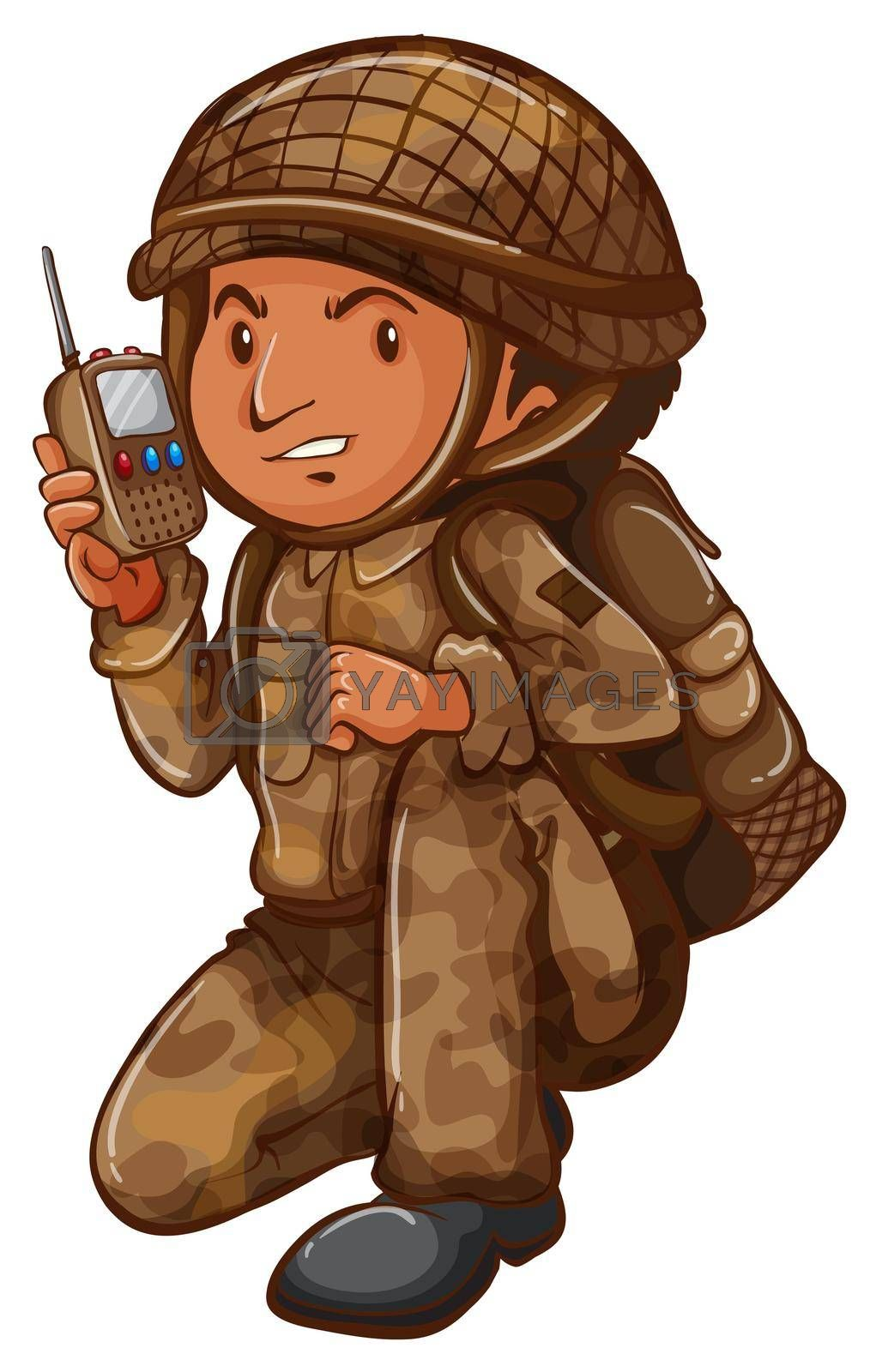 Illustration of a soldier with a communication tool on a white background