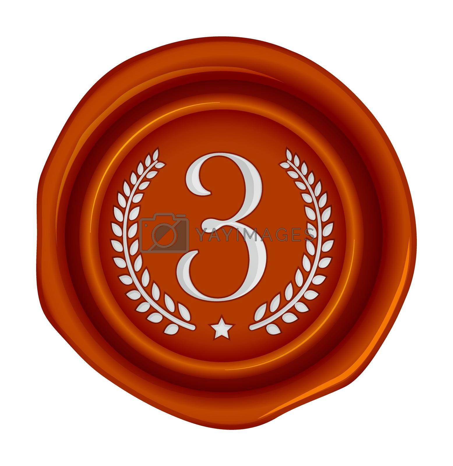 Sealing wax stamp vector illustration ( number, ranking )   3rd (bronze)