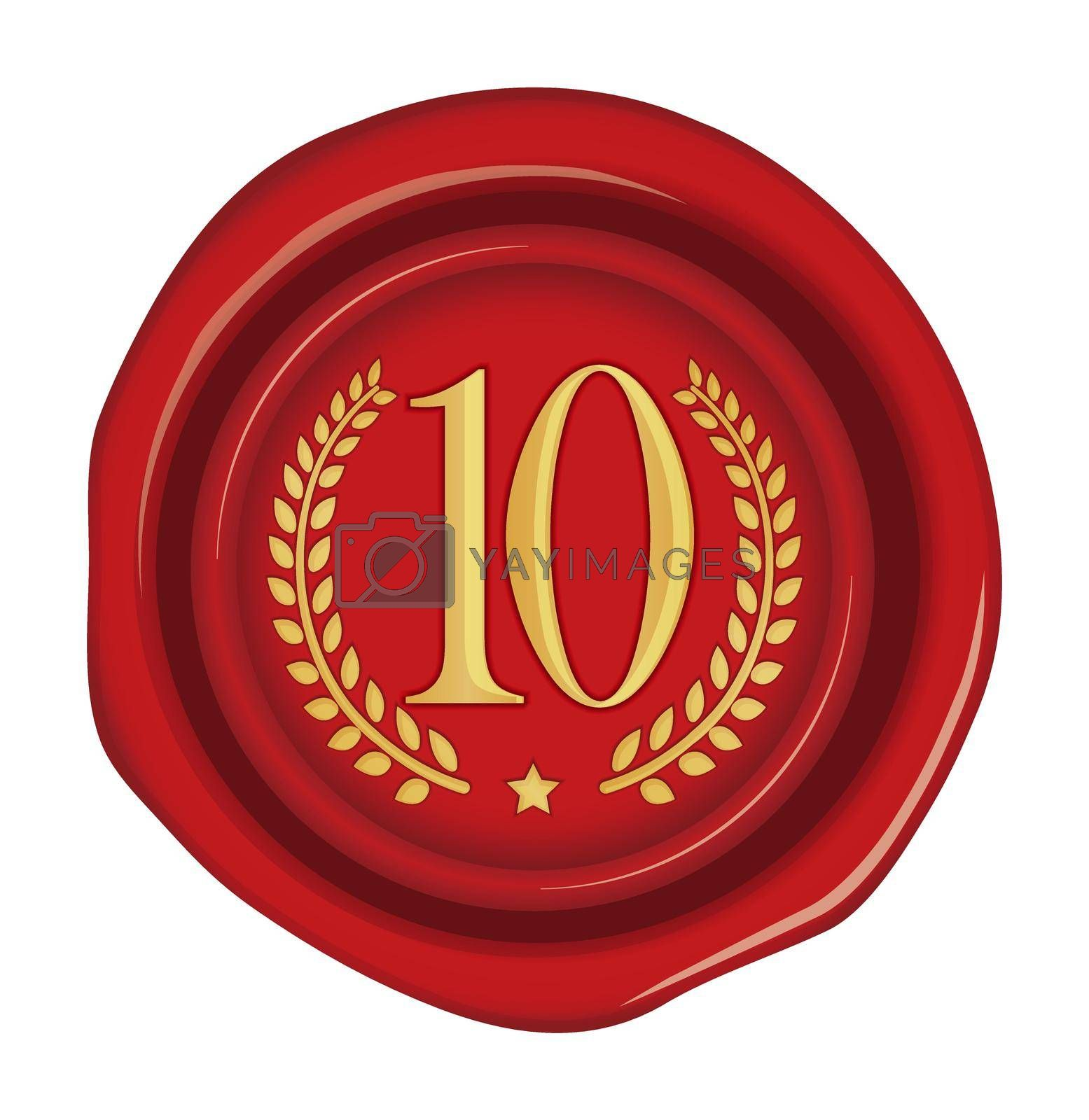 Sealing wax stamp vector illustration ( number, ranking )   10th (red)