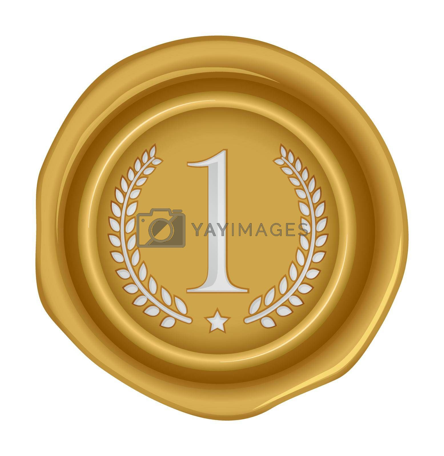 Sealing wax stamp vector illustration ( number, ranking )   1st (gold)