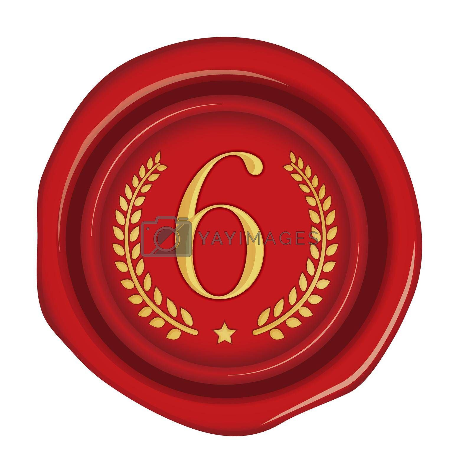 Sealing wax stamp vector illustration ( number, ranking )   6th (red)