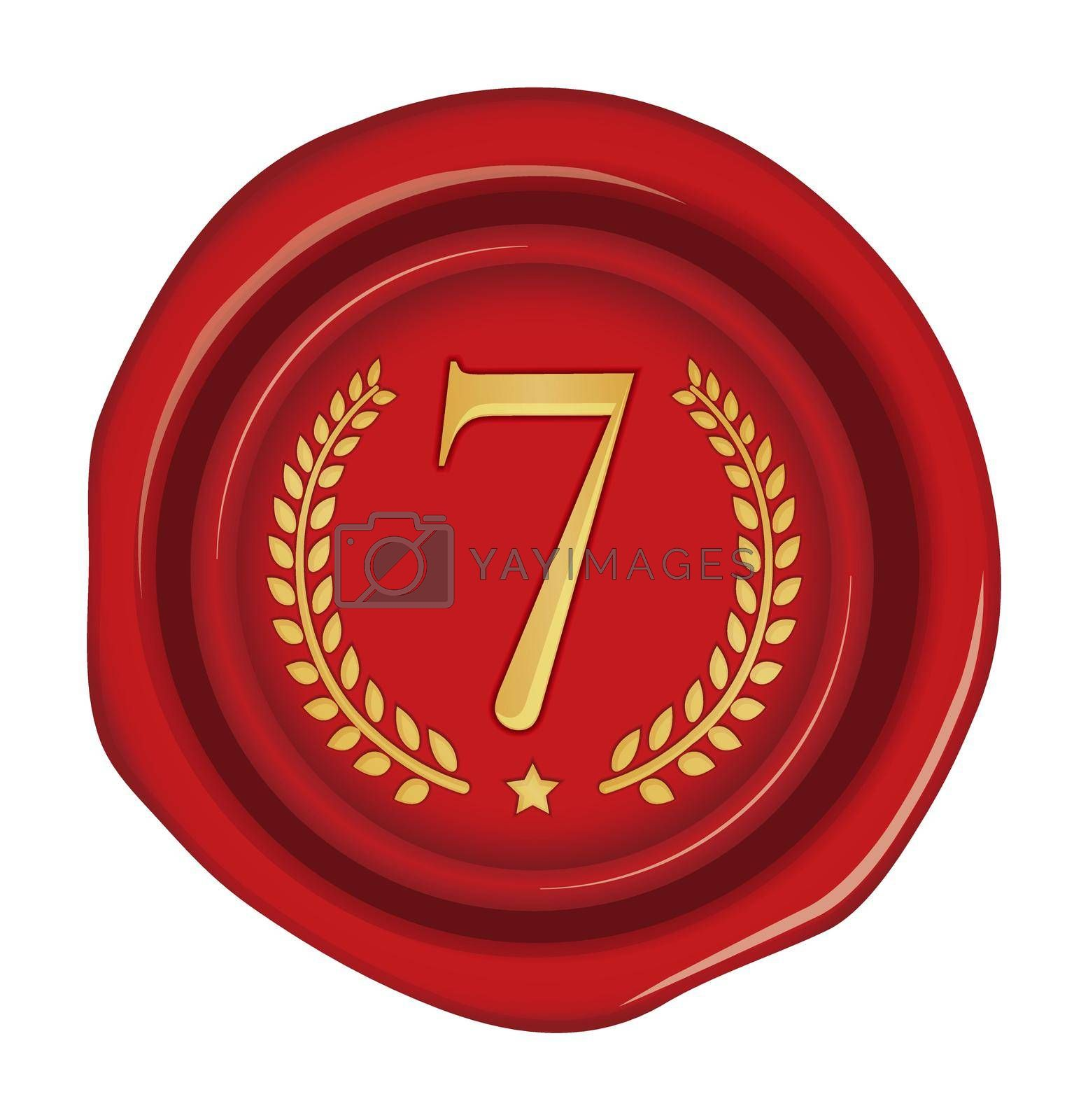 Sealing wax stamp vector illustration ( number, ranking )   7th (red)