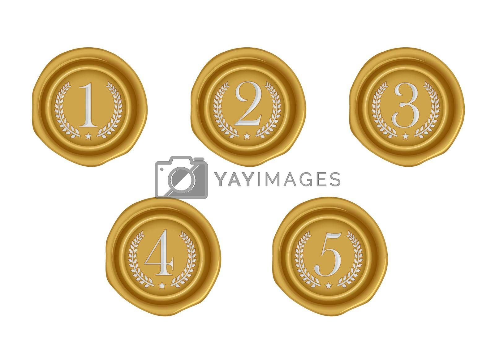 Sealing wax stamp vector illustration set ( number, ranking ) from 1st to 5th (gold)