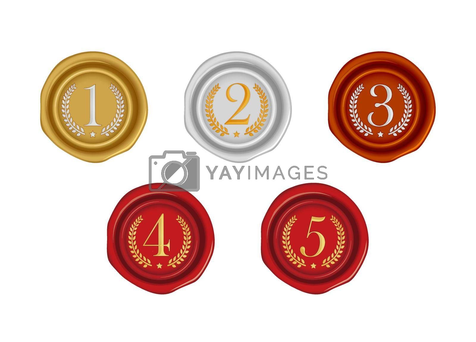 Sealing wax stamp vector illustration set ( number, ranking ) from 1st to 5th (gold, silver, bronze, red )