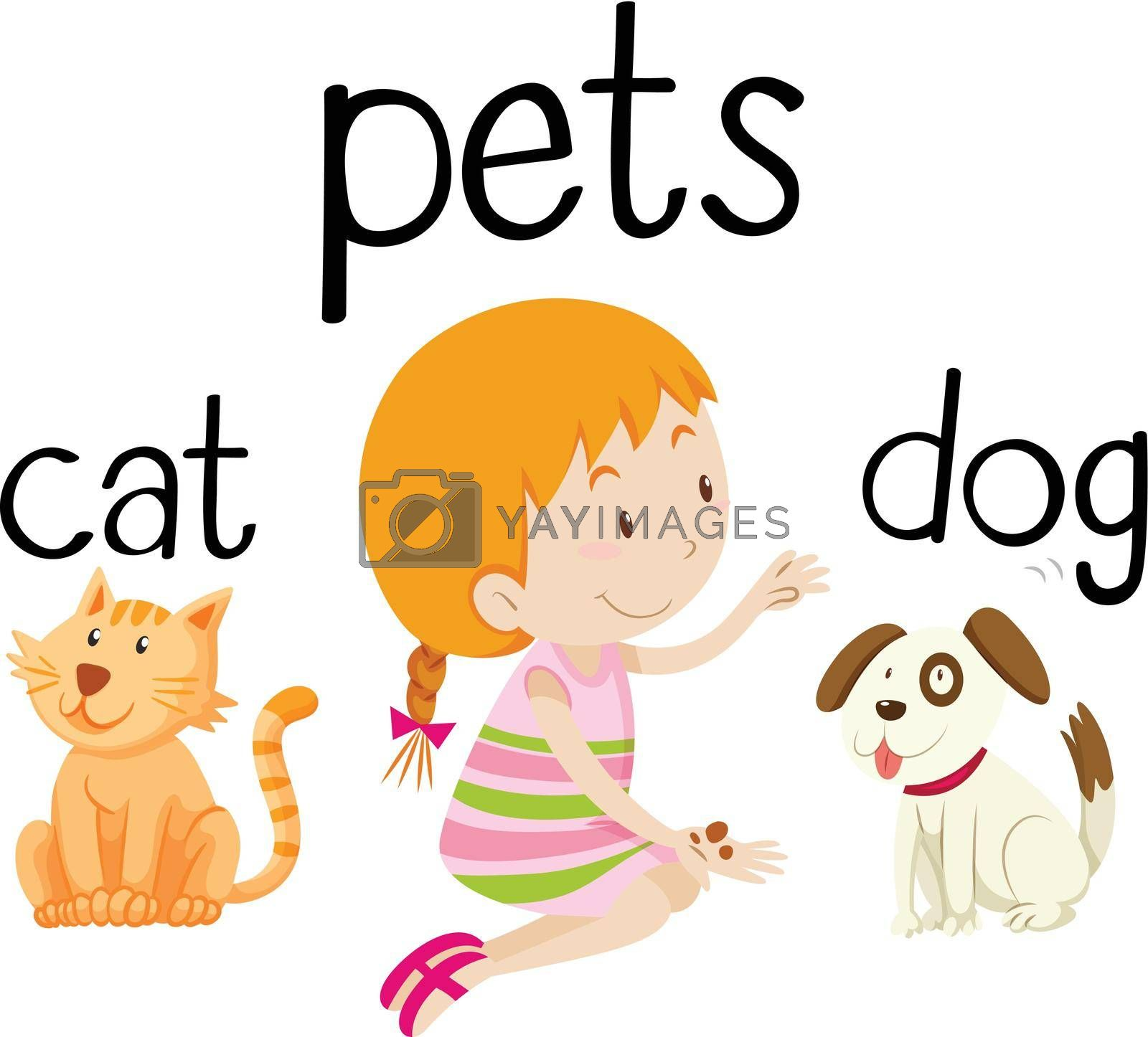 Royalty free image of Little girl and her pets by iimages