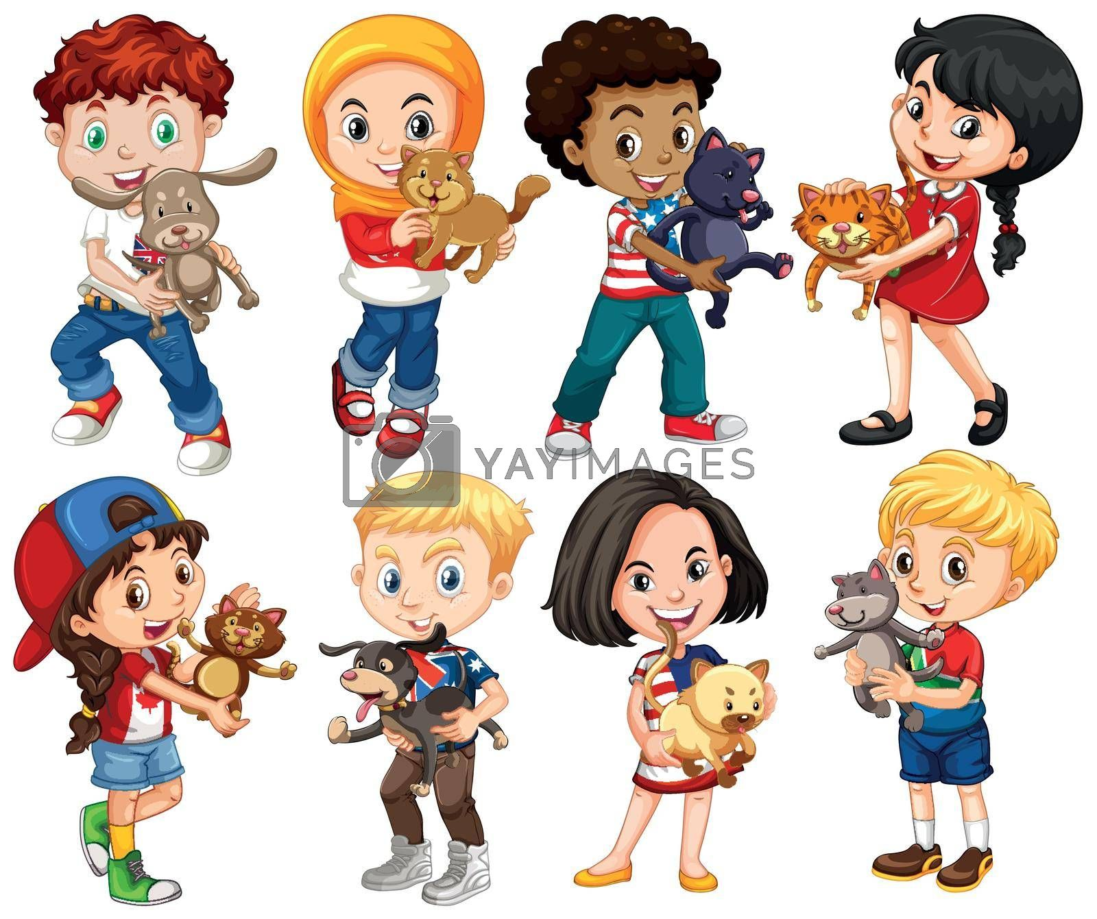 Royalty free image of Boys and girls with their pets by iimages