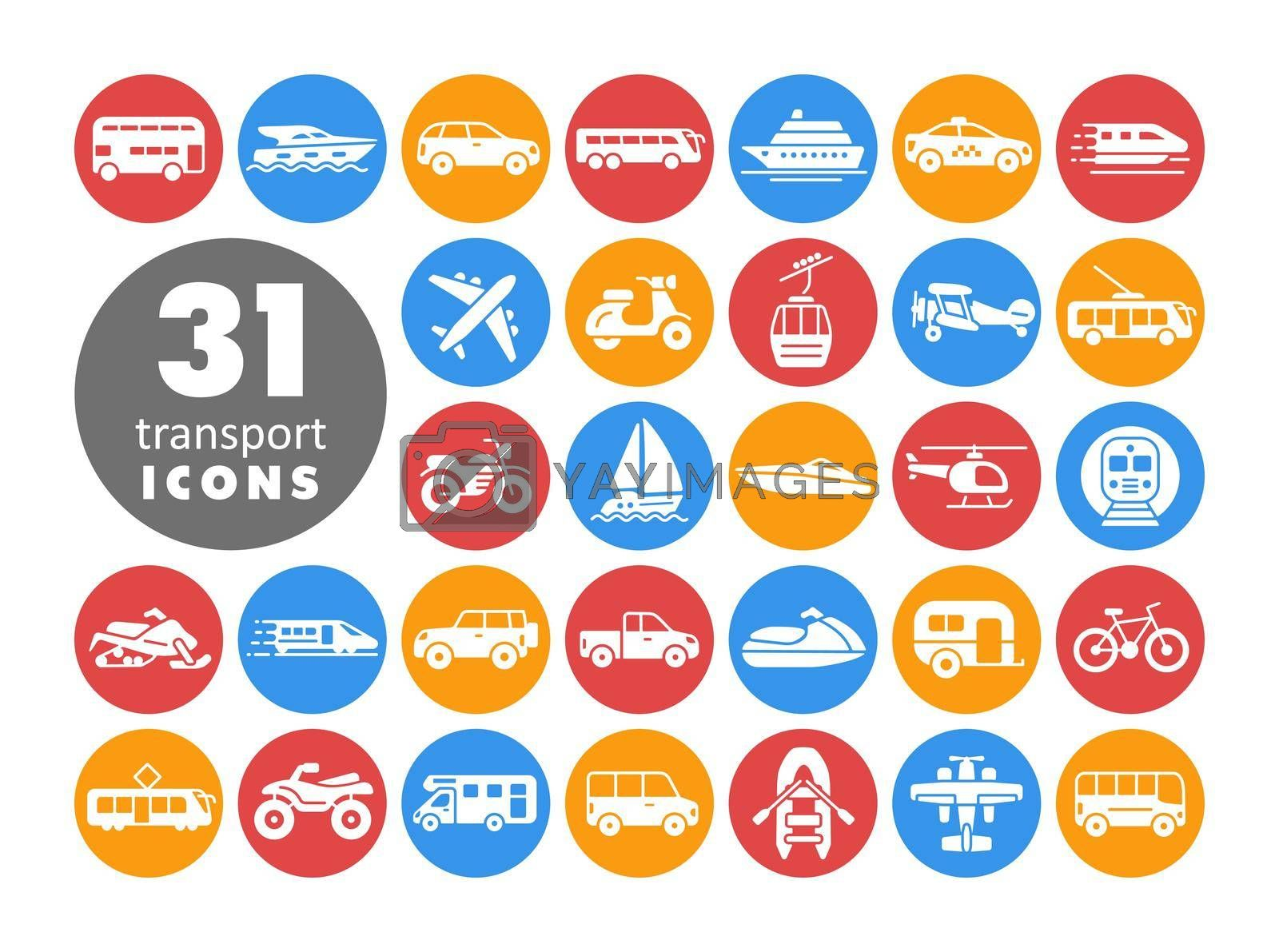 Transportation vector flat white glyph icon set. Graph symbol for travel and tourism web site and apps design, logo, app, UI