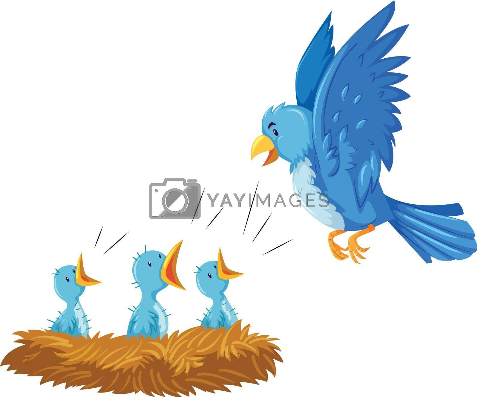 Royalty free image of Bird and its babies in the nest by iimages
