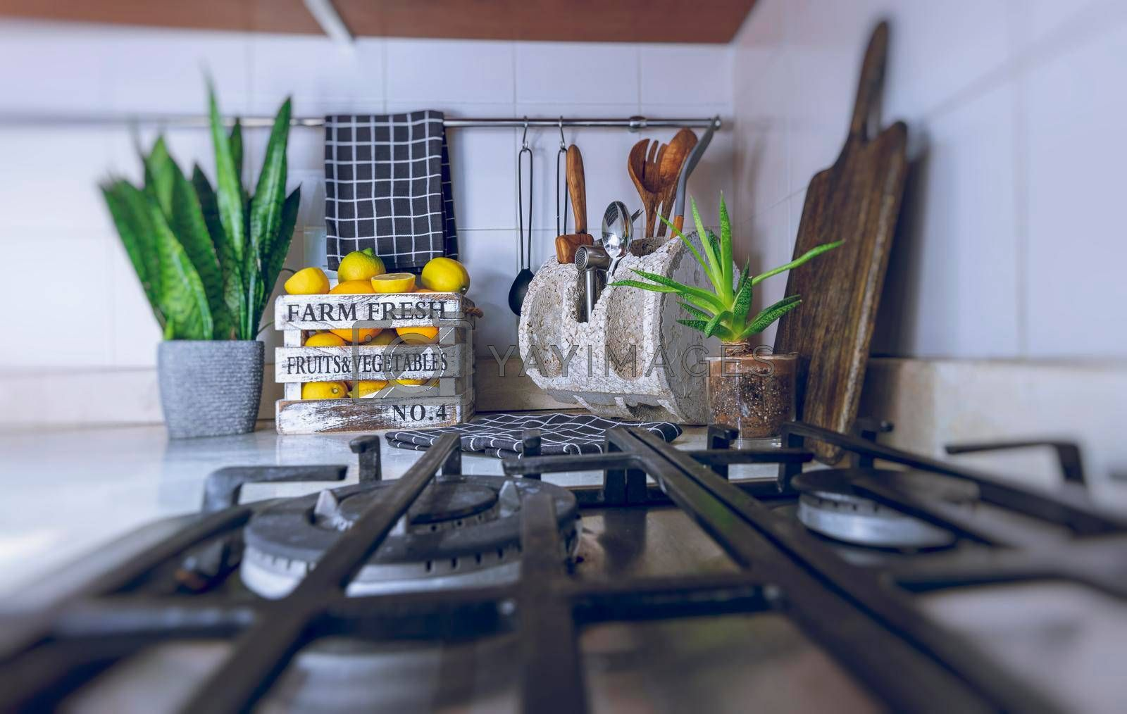 Beautiful Modern Kitchen Interior. Stylish Design Solution. Kitchen Objects. Fresh Ripe Lemons. Tasty Healthy Nutrition. Happy Home Life.