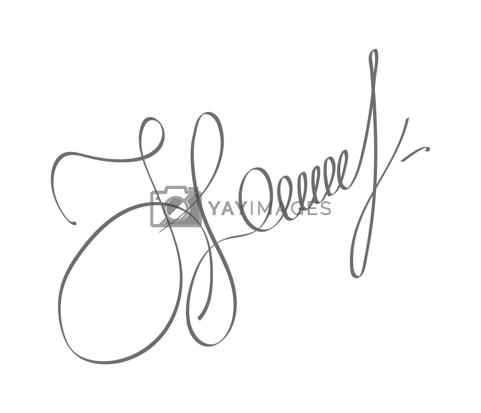 Abstract hand-drawn calligraphic autograph. Custom manual signature for documents. Flat Style