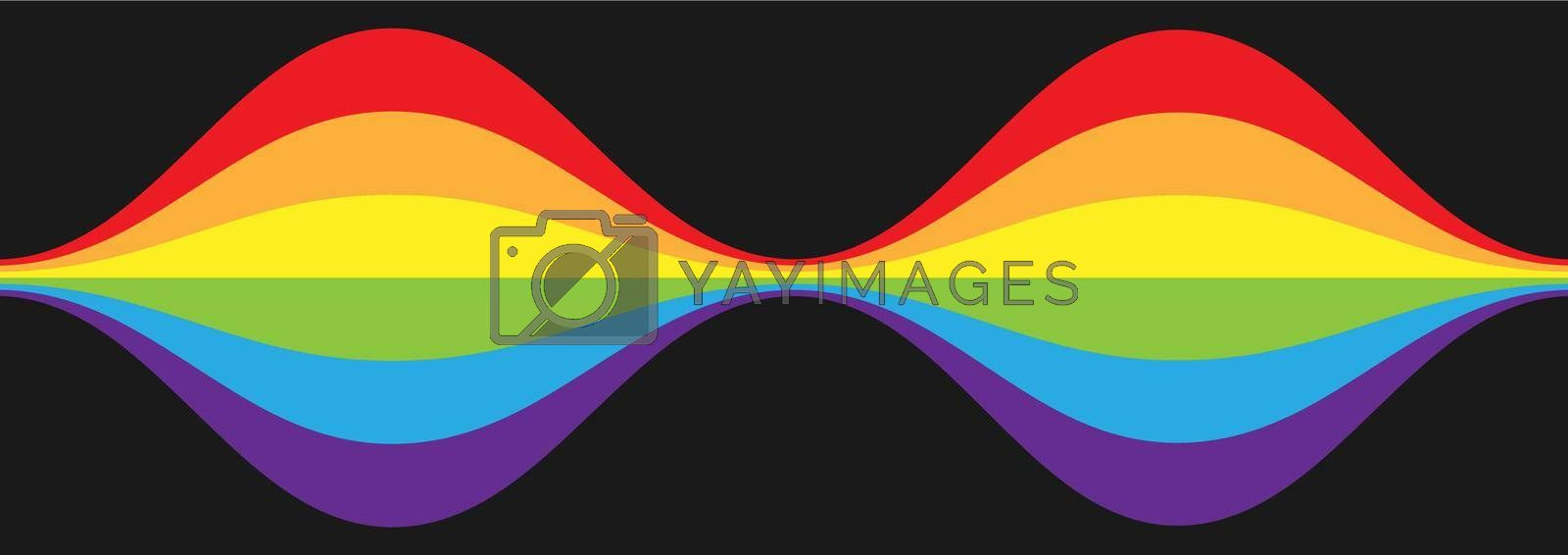 Rising and falling waves. Curly line in the colors of the LGBT flag for posters, banners and creative design. Simple Style