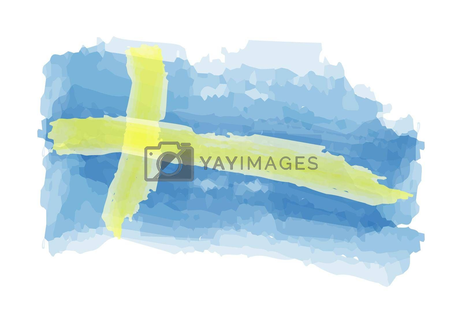 flag of Sweden is painted in watercolors. Vector illustration for posters, banners, prints and creative design.