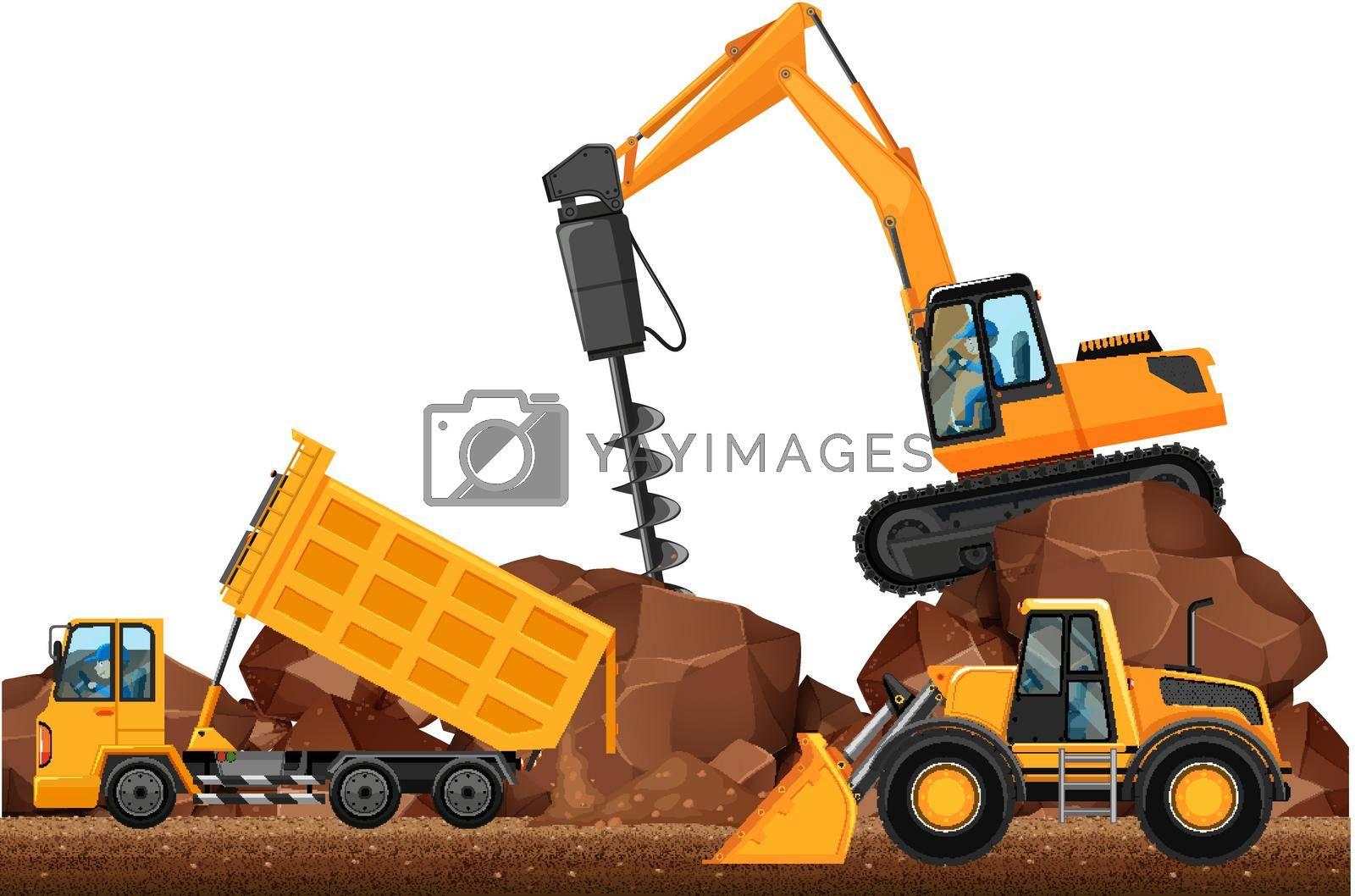 Three different construction trucks working  illustration