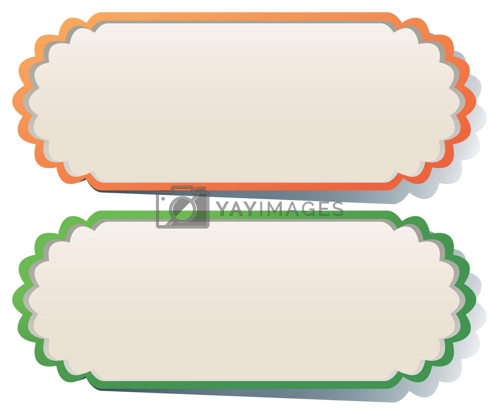 Two labels in orange and green illustration