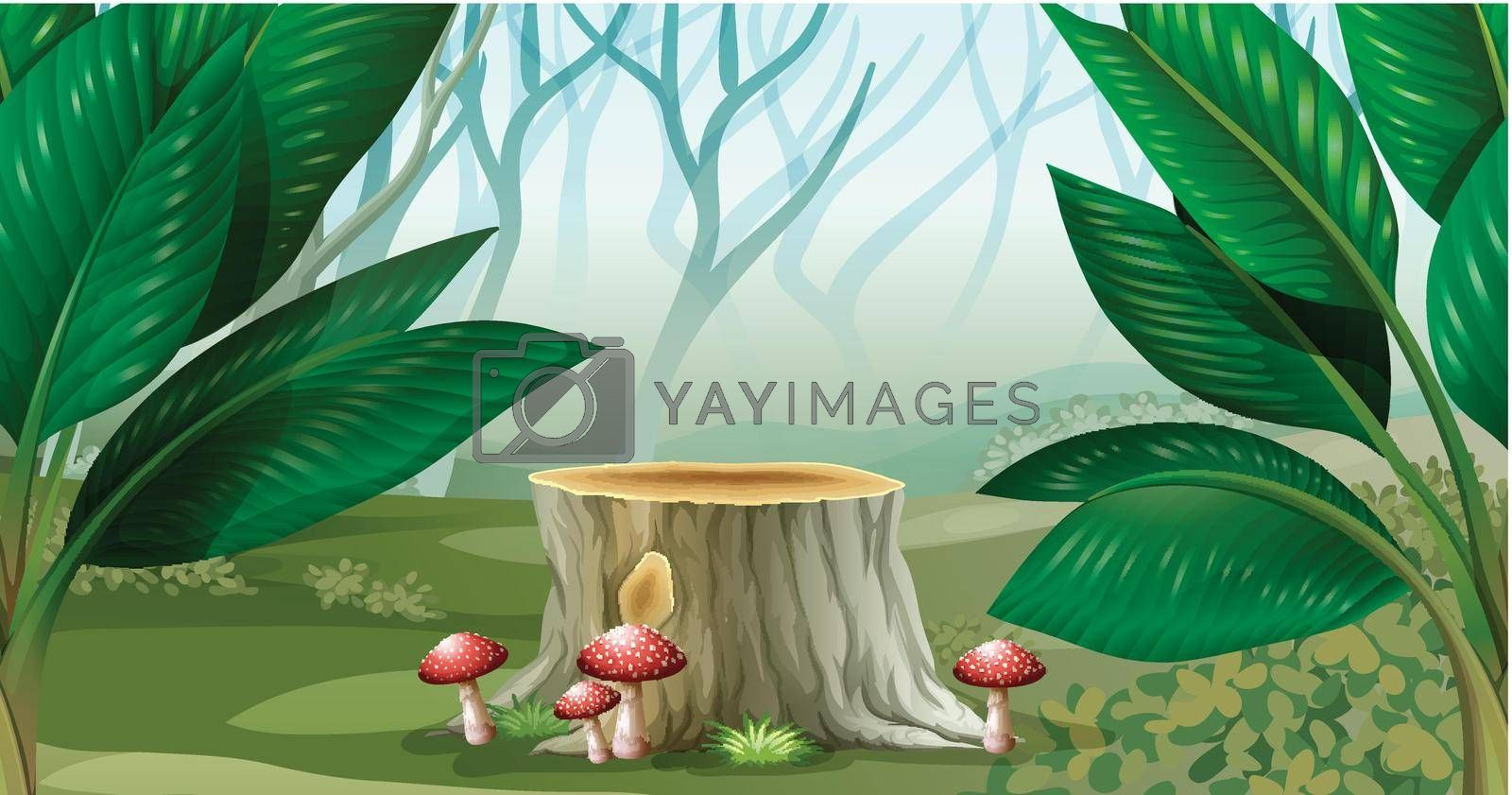 Scene with mist in the forest illustration