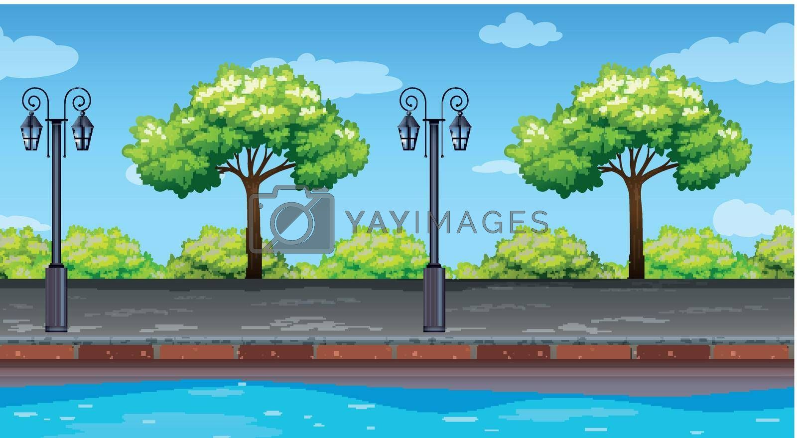 Seamless background with trees along the road illustration
