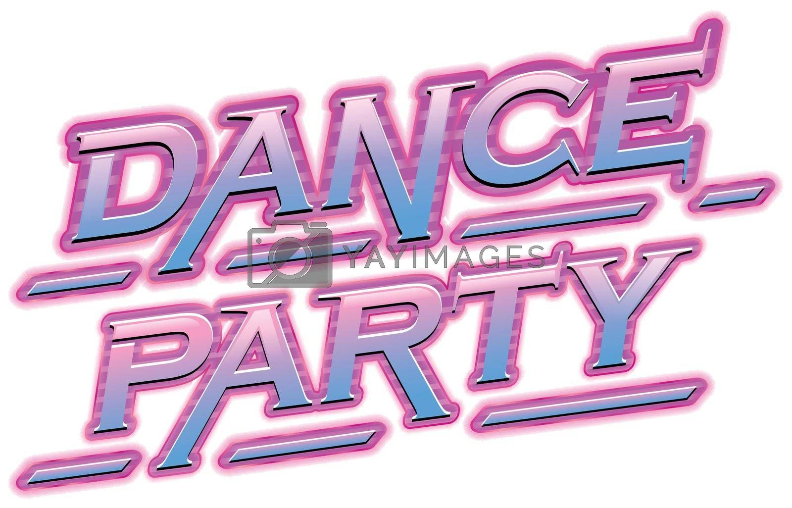 Neon Pink dance party text illustration