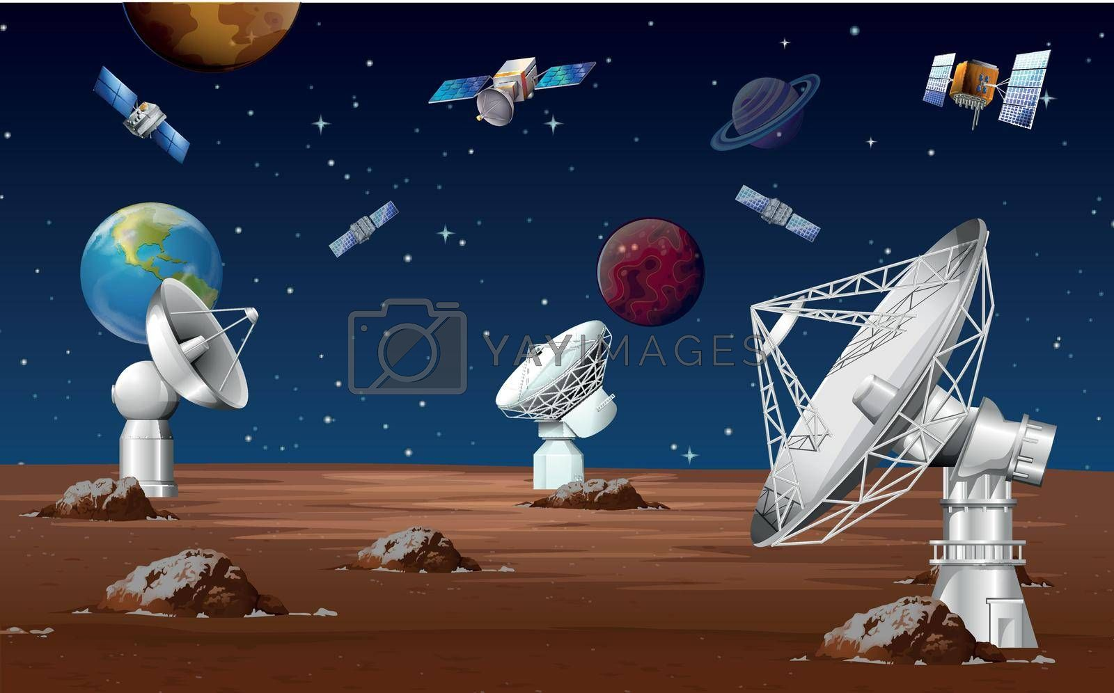 Satellites orbitting around the planet illustration