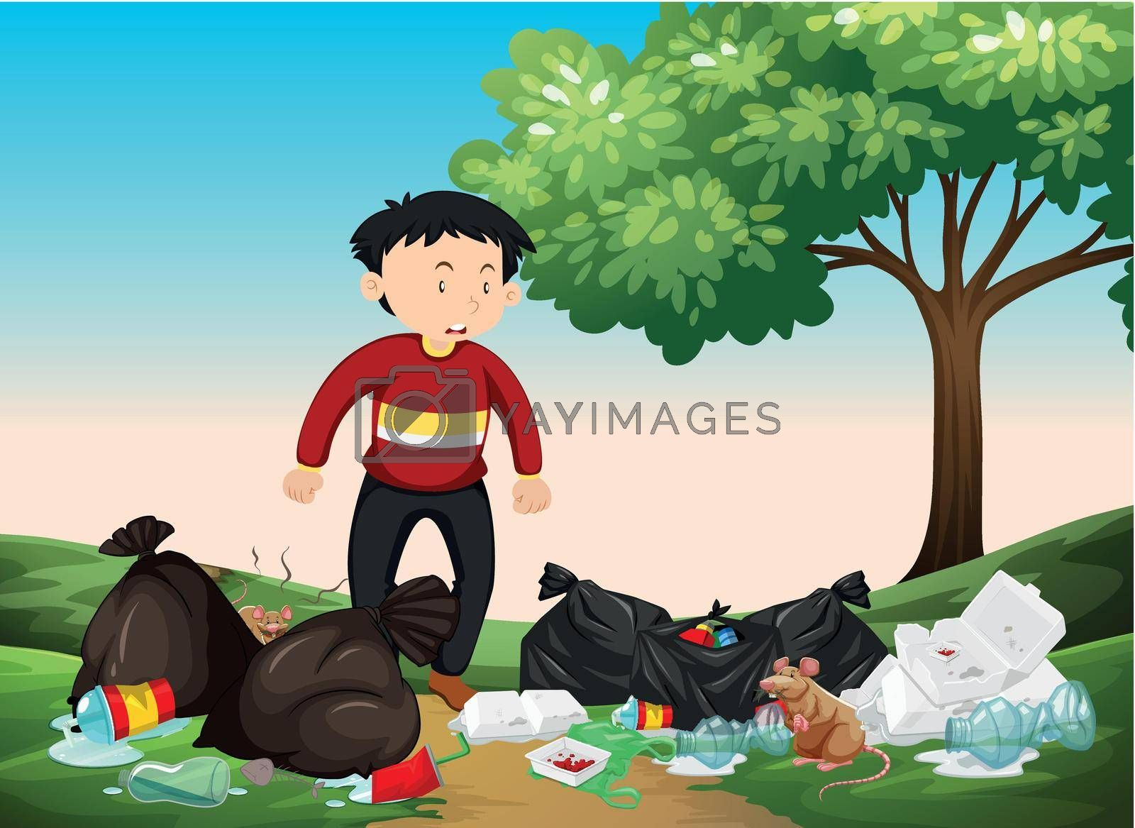 Man looking at pile of trash in the park illustration