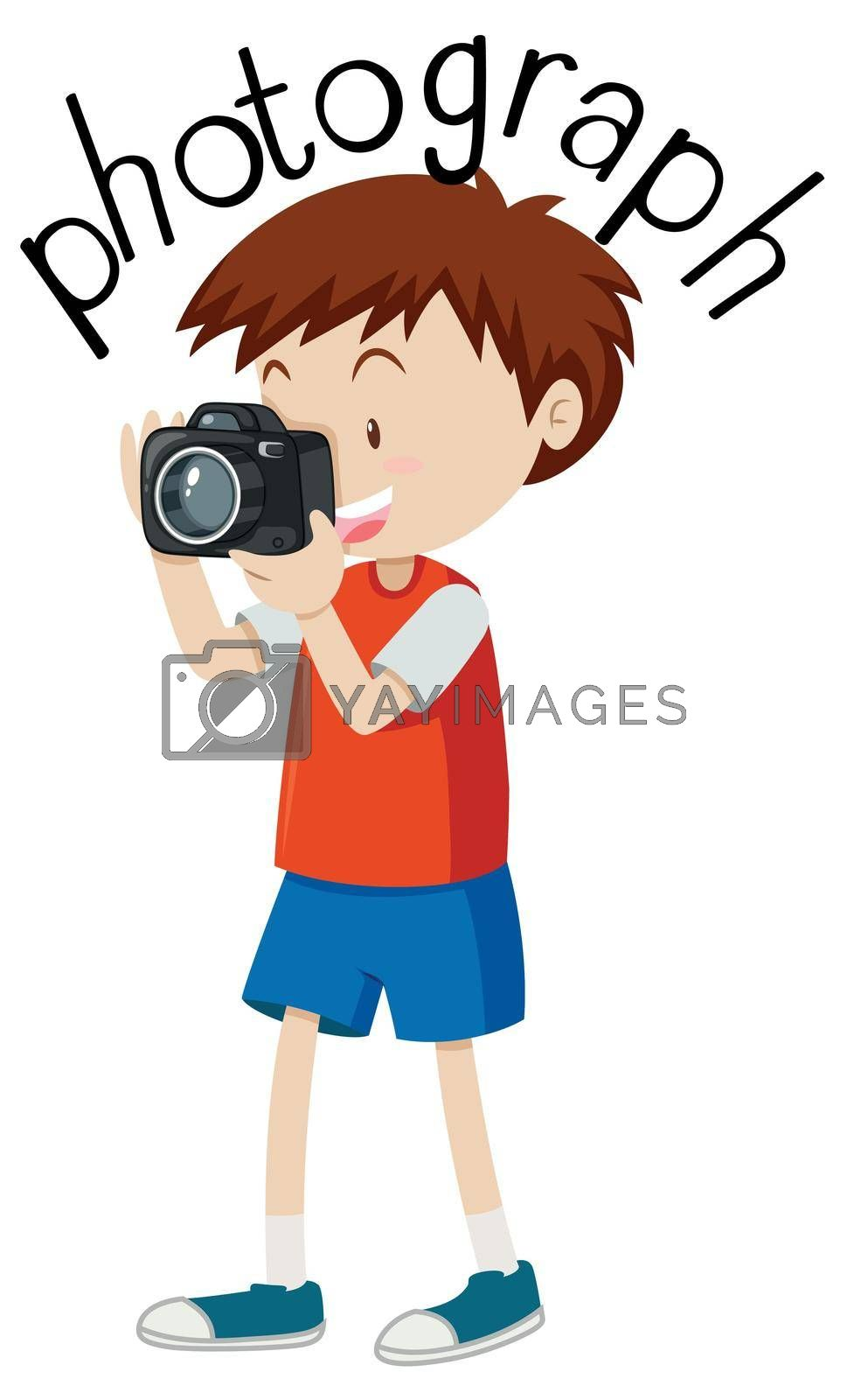 Flashcard for word photograph with boy taking picture illustration