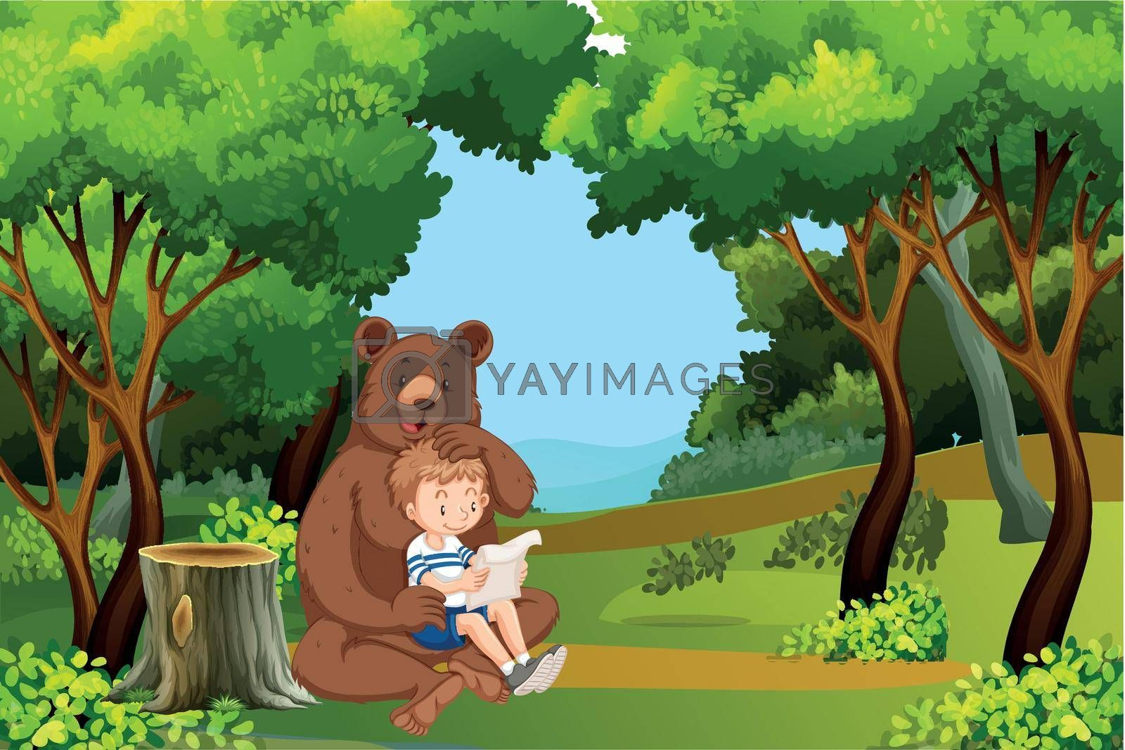 Boy and bear in the forest illustration