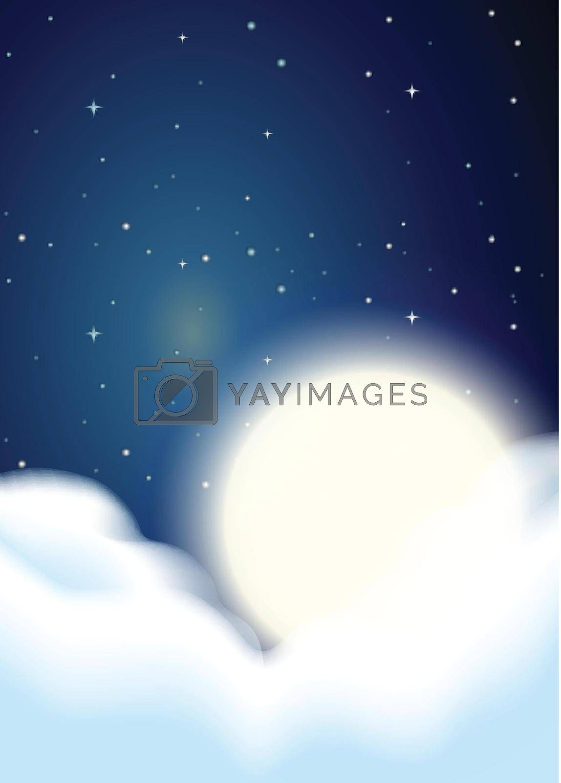Full moon and clouds background illustration
