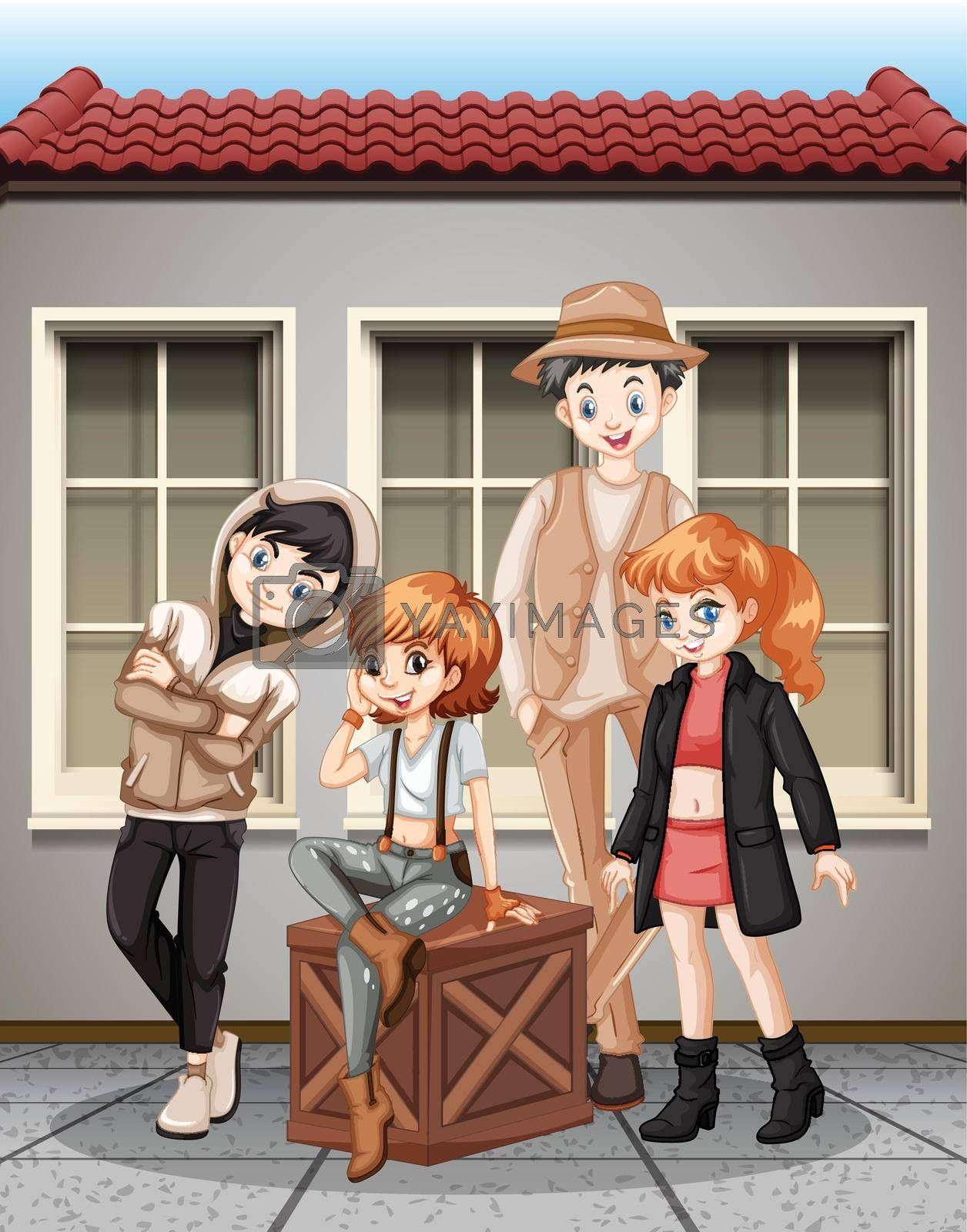 Group of fashionalble teenager illustration