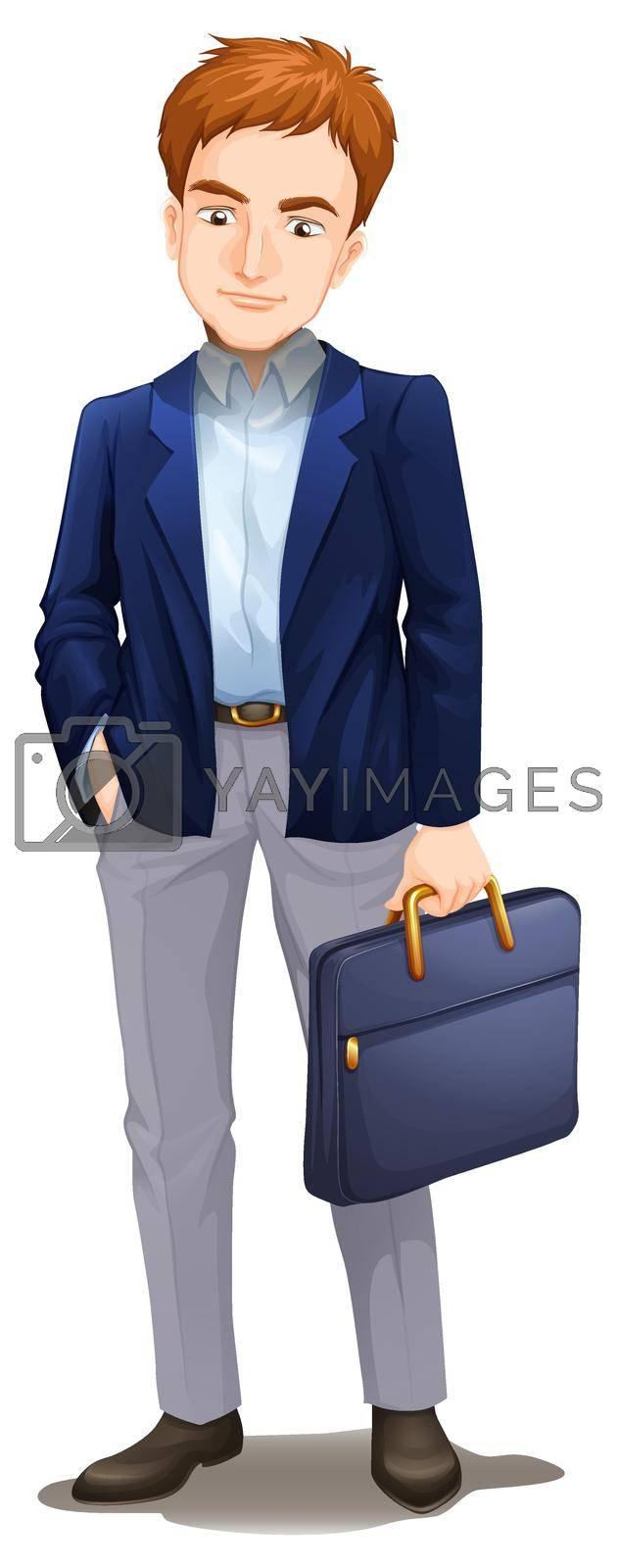 A Smart Businessman on White Background illustration