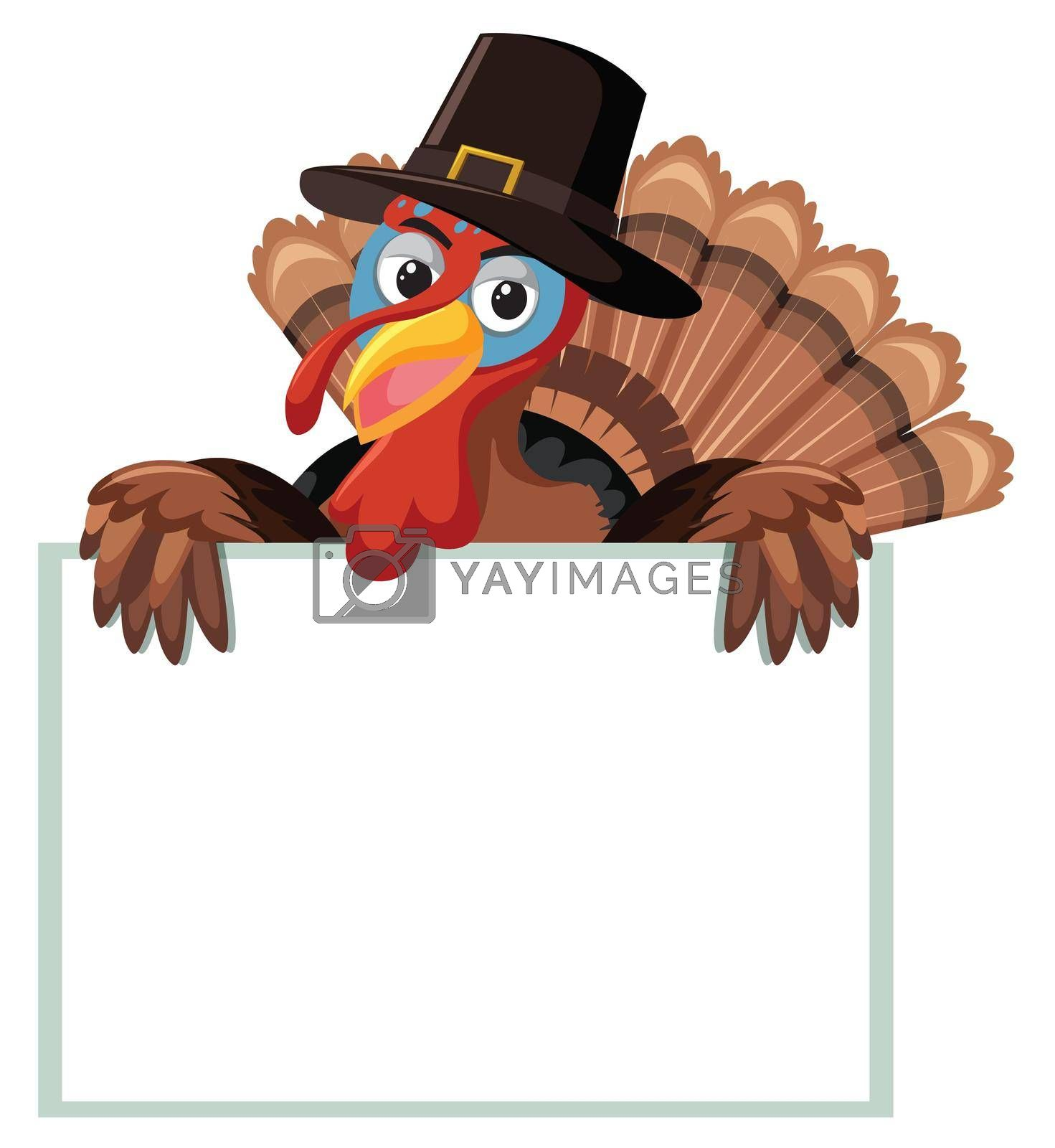 A turkey with blank banner illustration