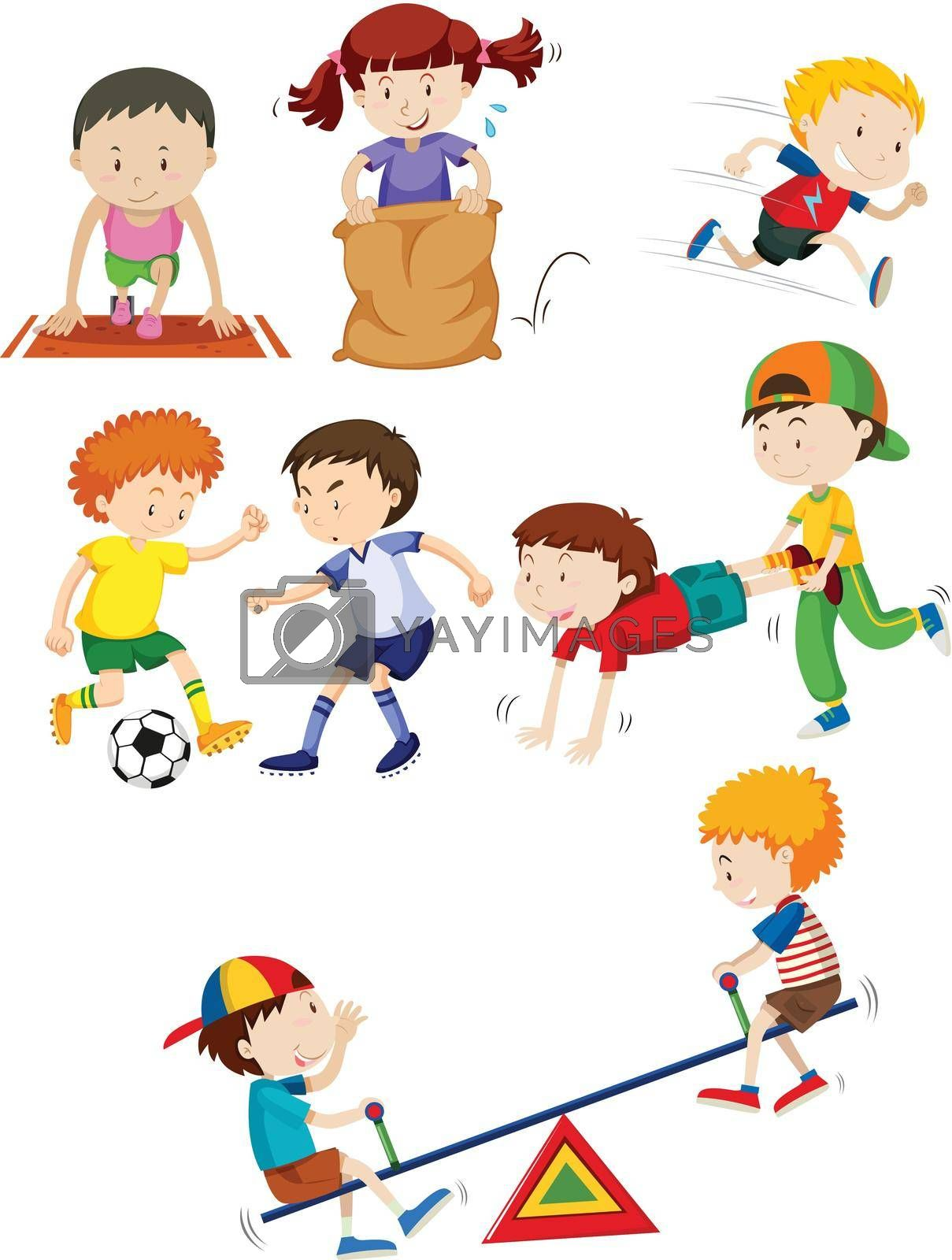 Young children and activity illustration