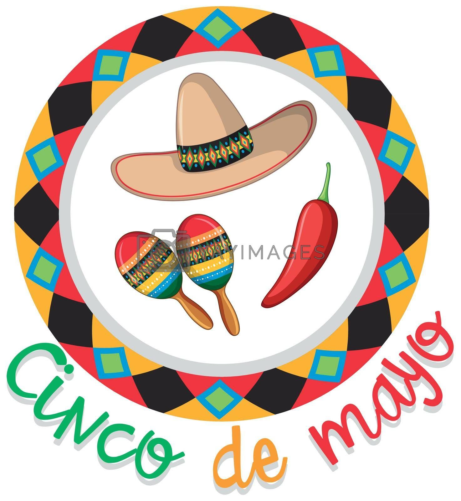 Cinco de mayo poster design with hat and maracas illustration