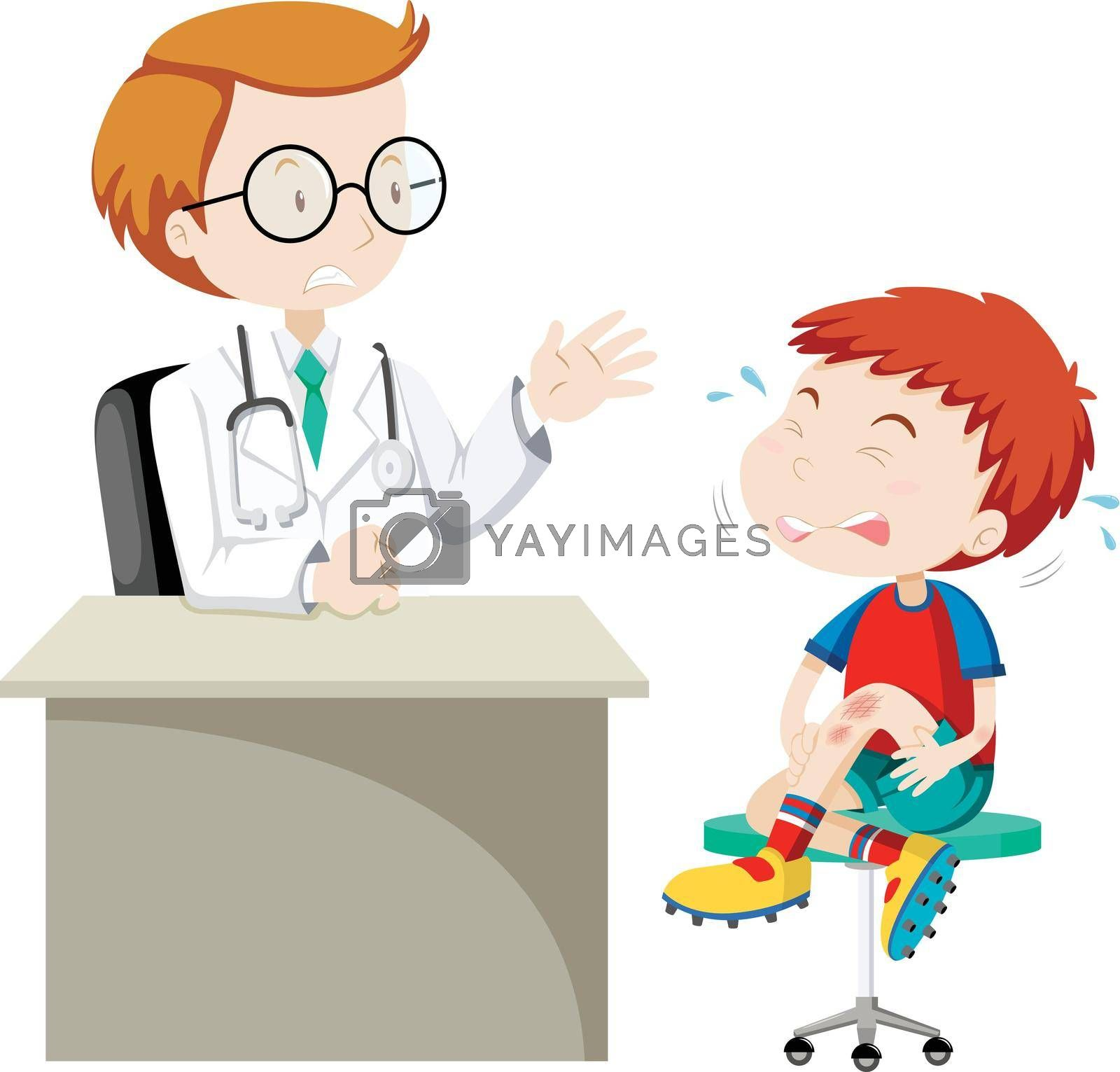 Boy with wounded knee at clinic illustration