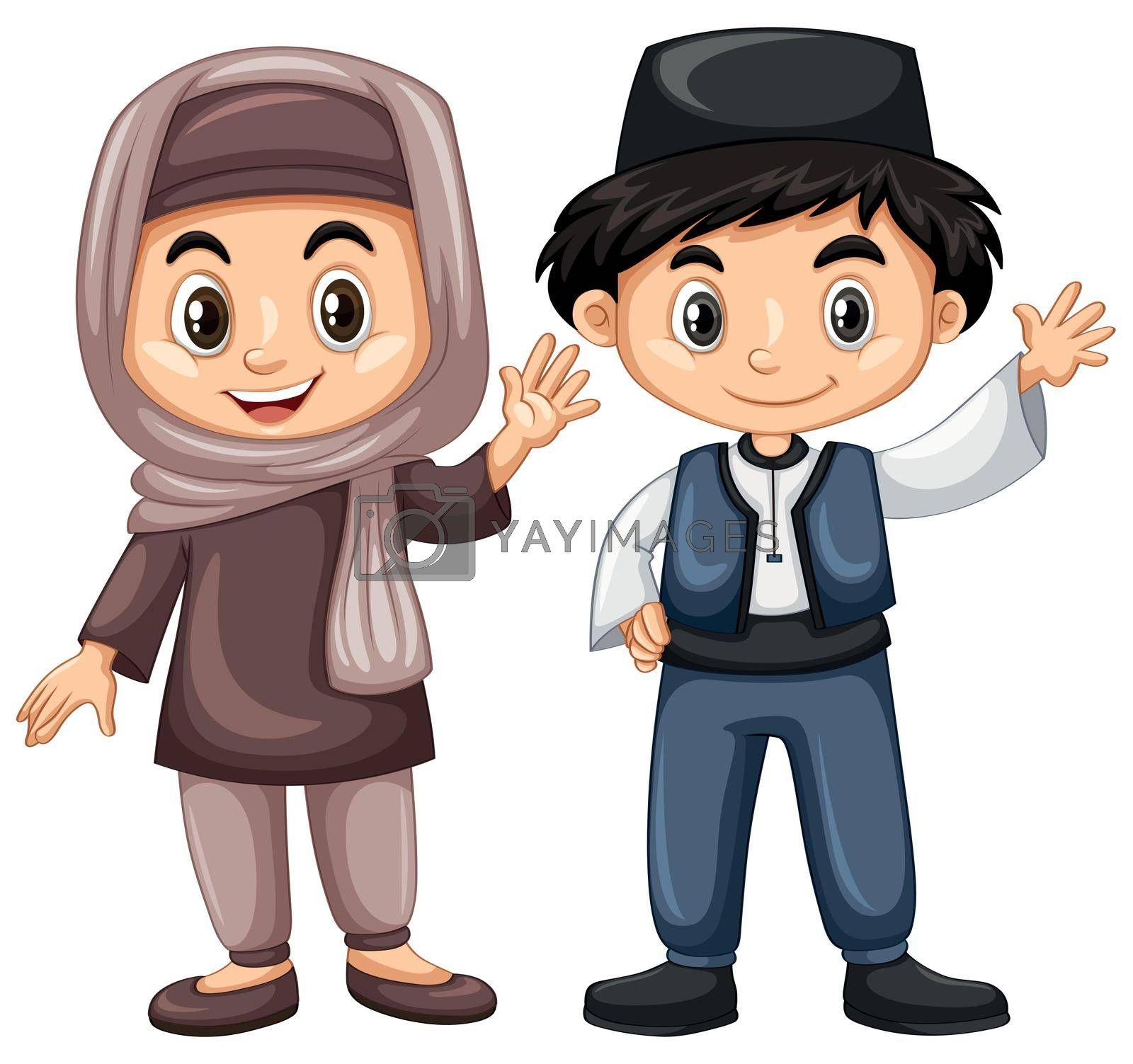 Turkish boy and girl in traditional costume illustration
