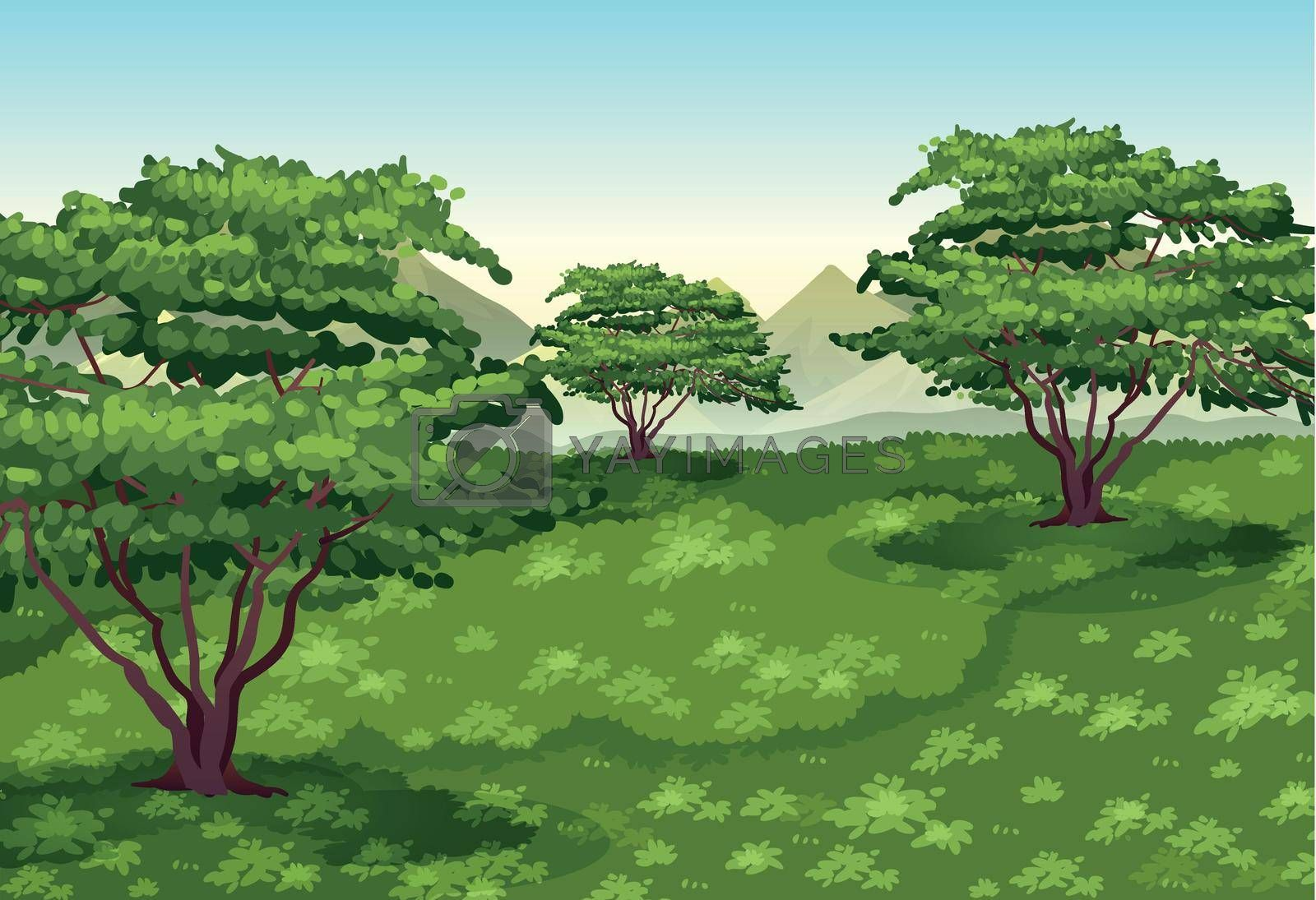 Background scene with trees and green field illustration