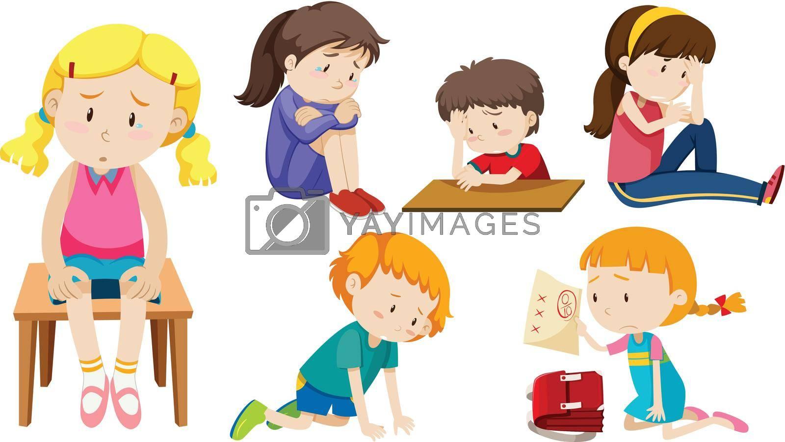 Set of depressed children illustration