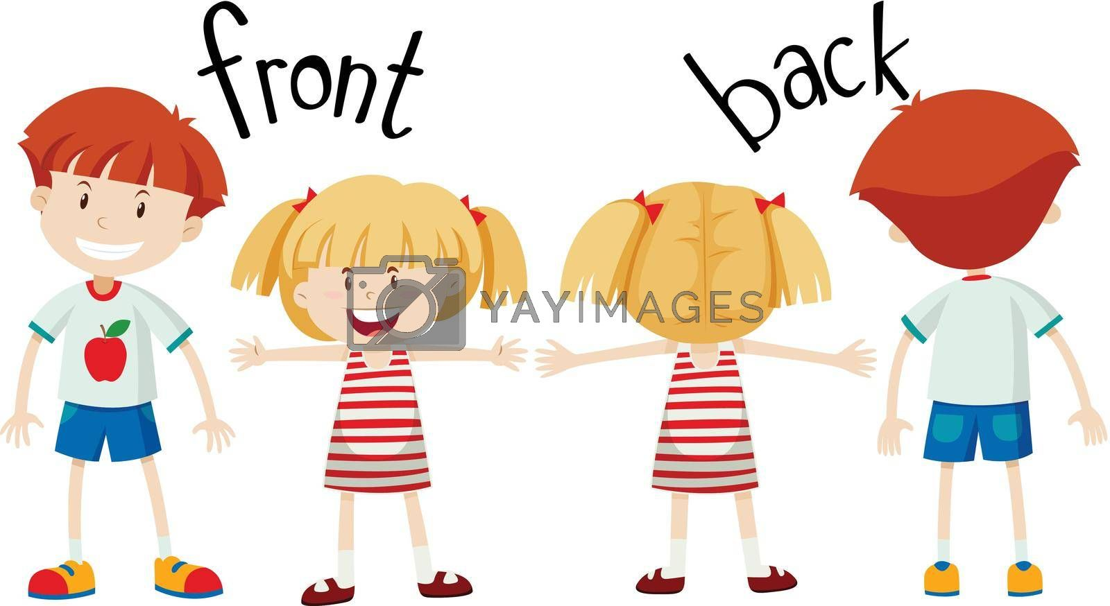 English opposite word of front and back illustration