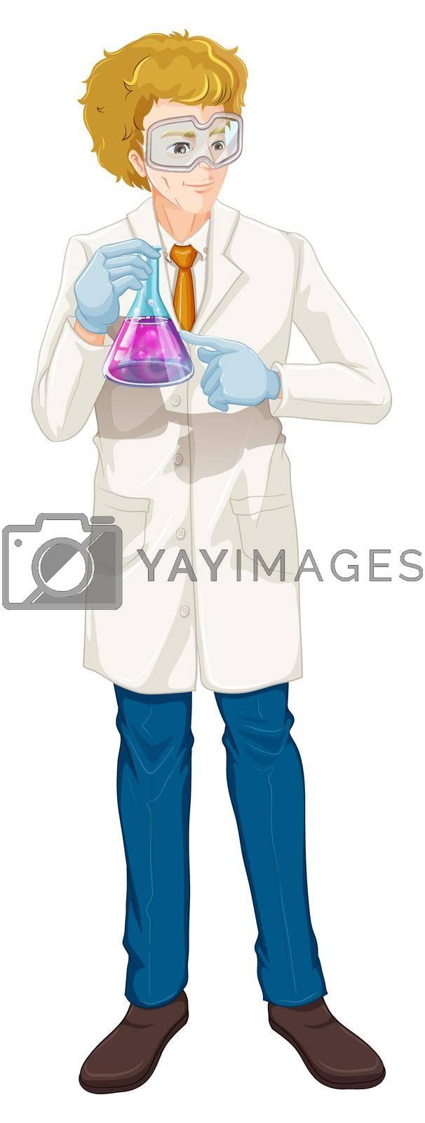 Scientist holding beaker on white background illustration