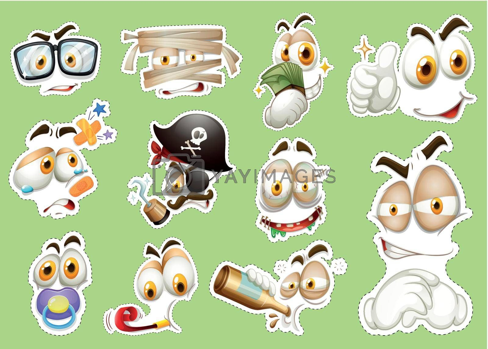 Sticker design with different faces illustration