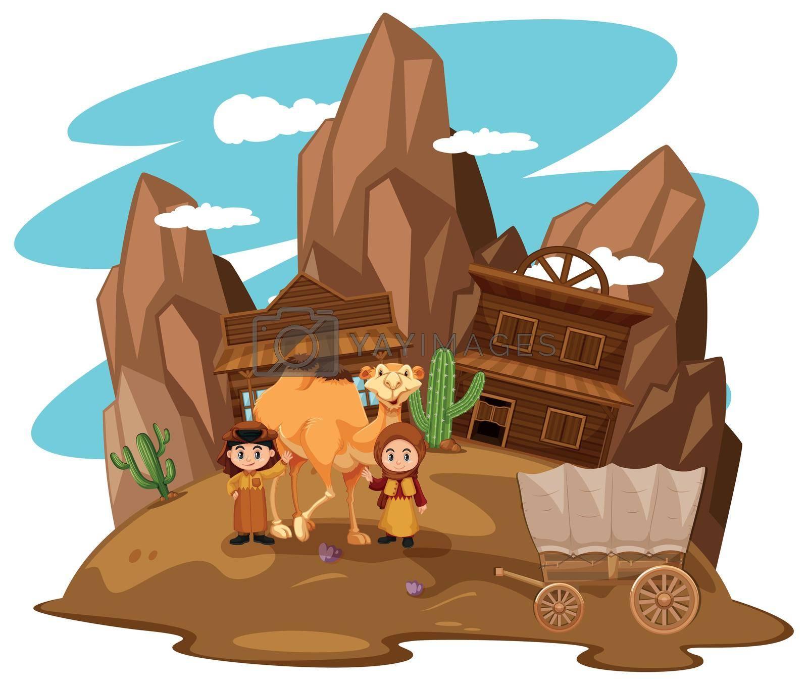 Desert scene with kids and camel illustration