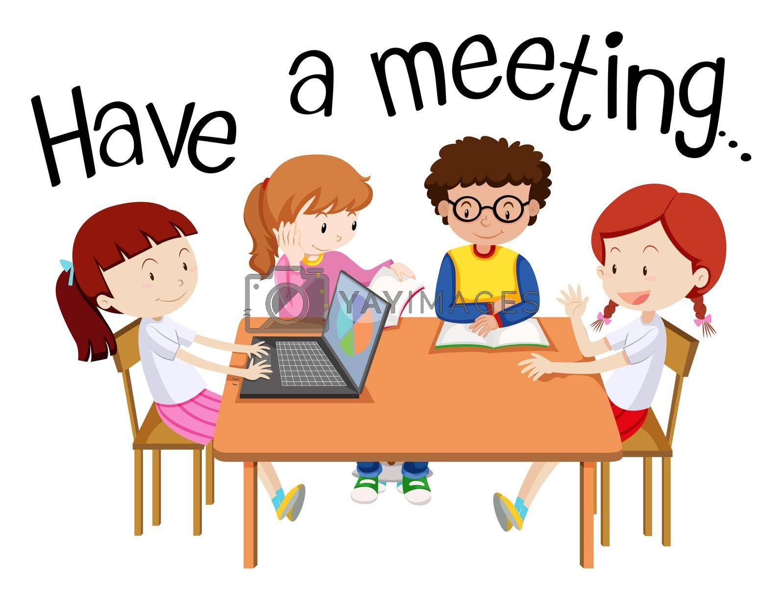Wordcard for have a meeting with people on the table illustration