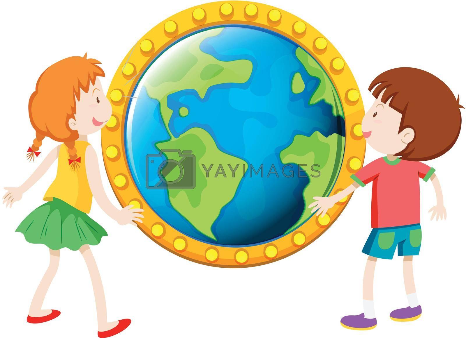 Boy and girl looking at globe illustration